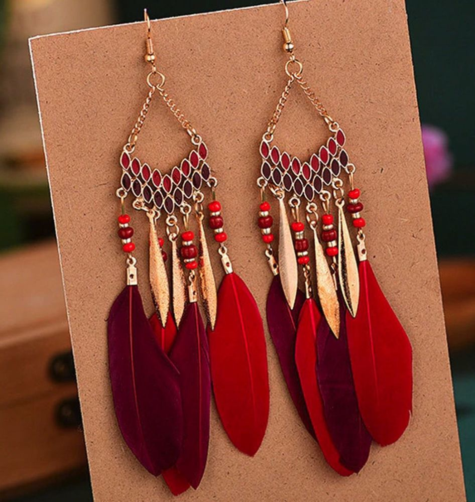 Red, Burgundy and Gold Feather Earrings with Beaded Tribal Detail