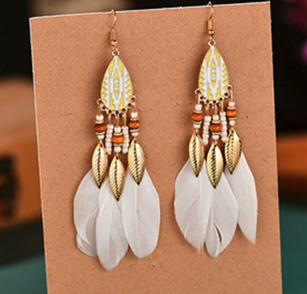 White and Gold Feather Earrings with Beaded Tribal Detail