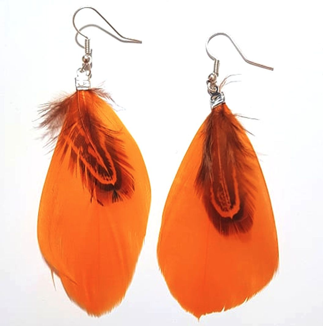 Orange Mango Feather Earrings with Goose and Ringneck Feathers