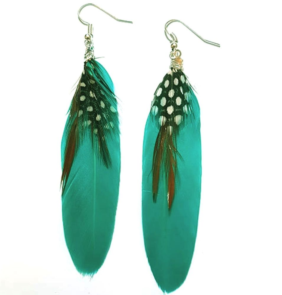 Green Teal Feather Earrings