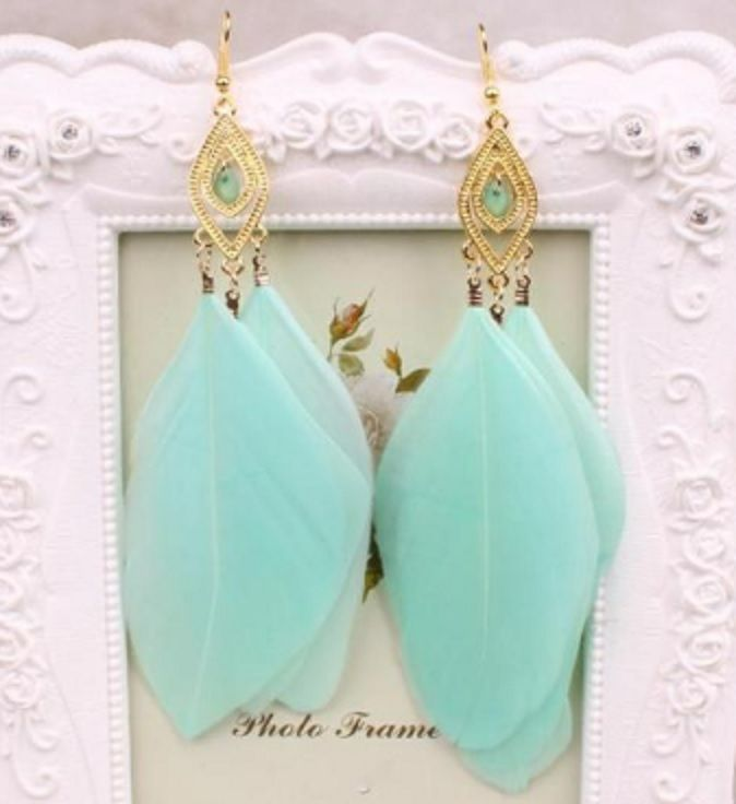 Mint Green and Gold Feather Earrings