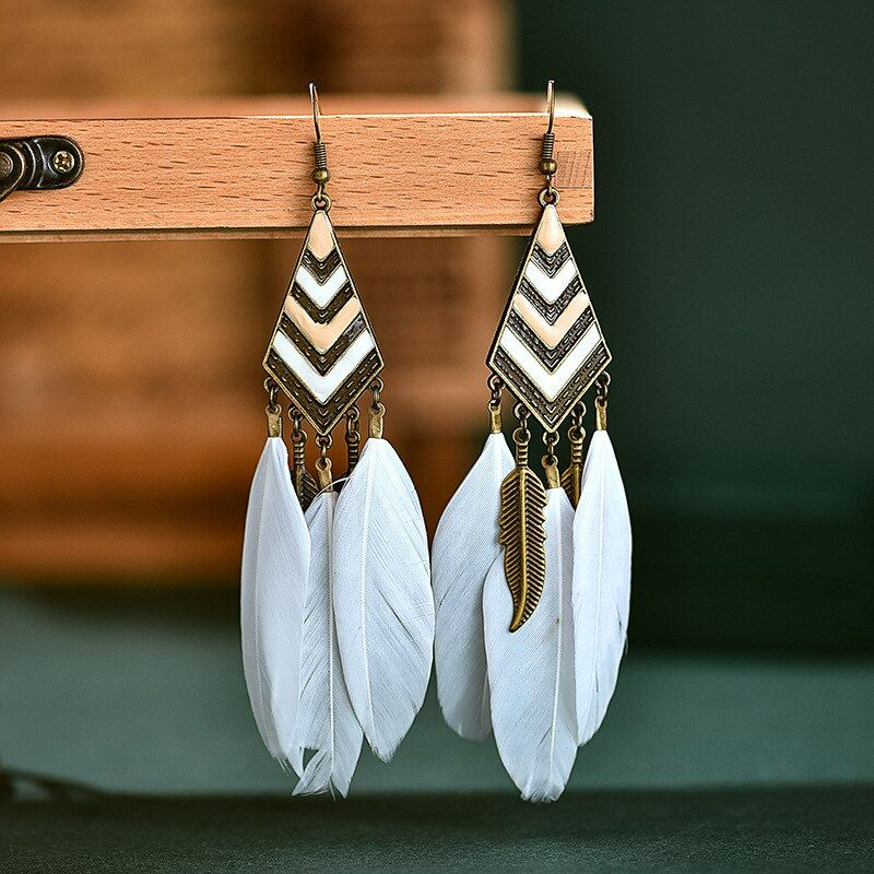 White and Gold Feather Earrings with Antique Gold Feather Charms