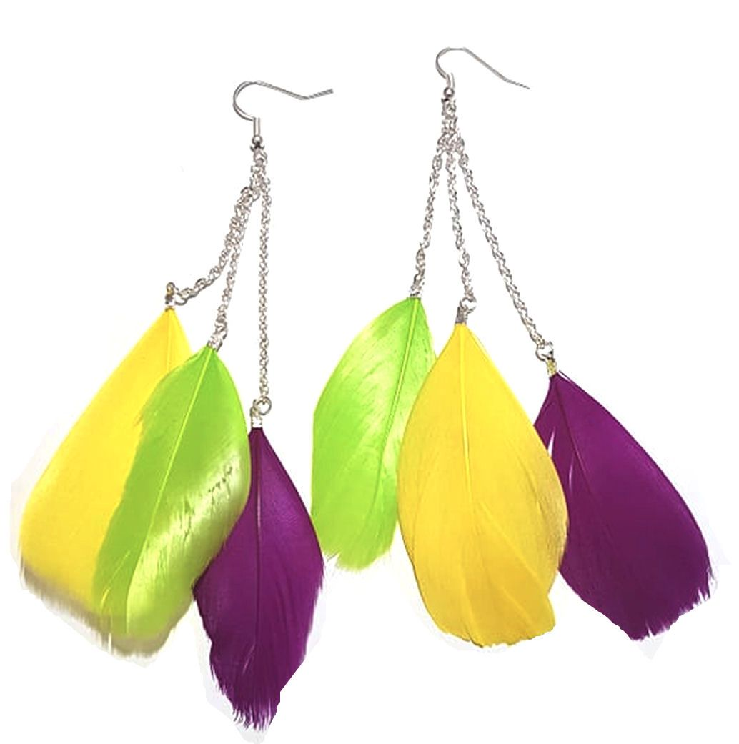 Dark Pink, Yellow and Lime Green Feather Earrings