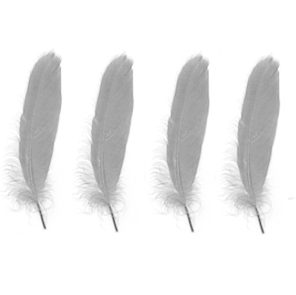 Goose Satinette Feathers in Silver Grey x 10
