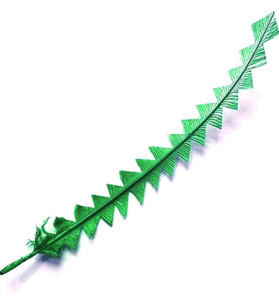 Green Ostrich Feather Long Trimmed Zig Zag Cut