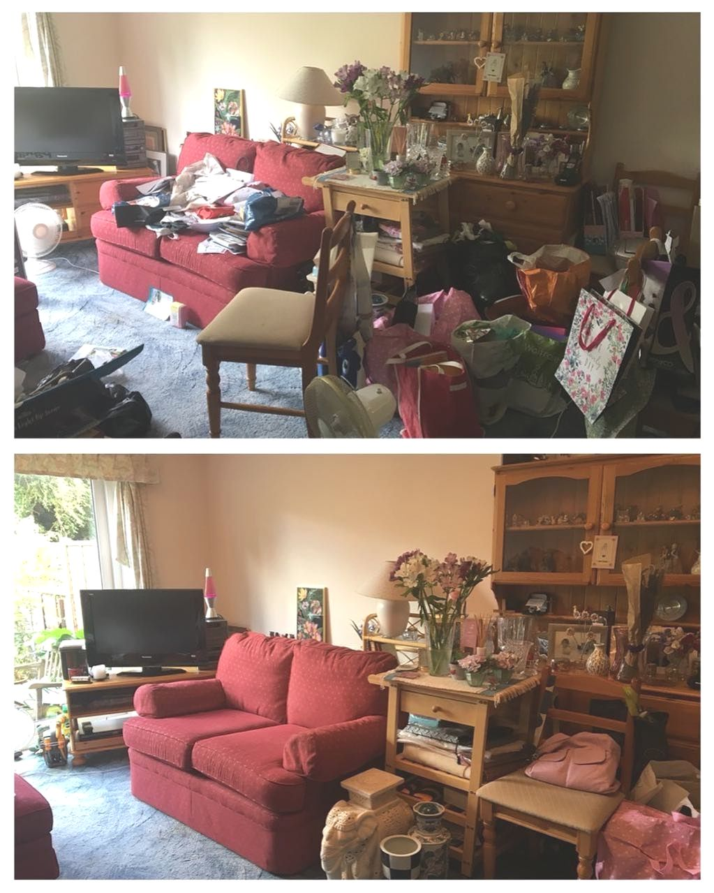 Living room declutter in Oxshott