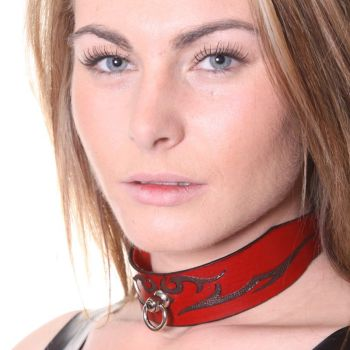 House Of Eros Lace Up Red Leather Tribal Collar