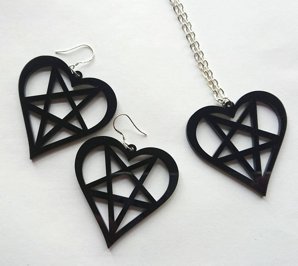 Heart Pentagram Earrings