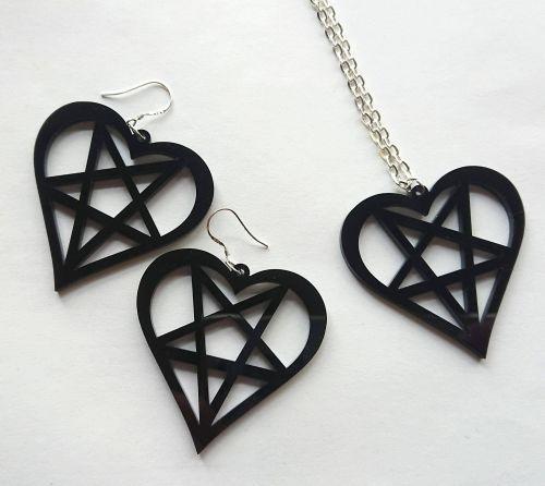 Heart Pentagram Earrings