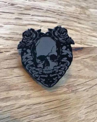 Skull Heart Pin Badge