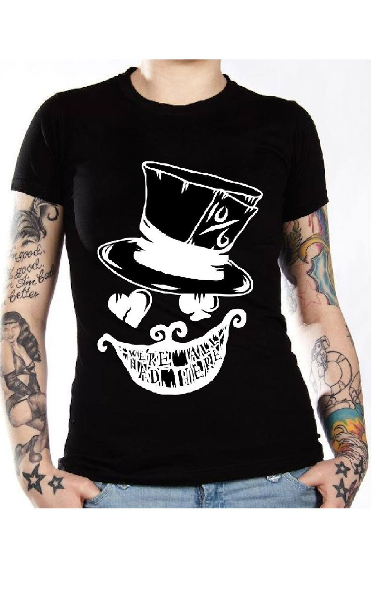 We're All Mad Here T Shirt (Black And White)