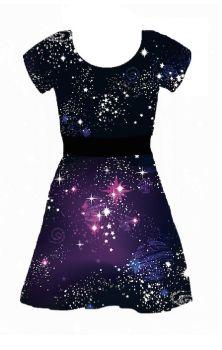 Cosmic Capped Sleeve Skater Dress