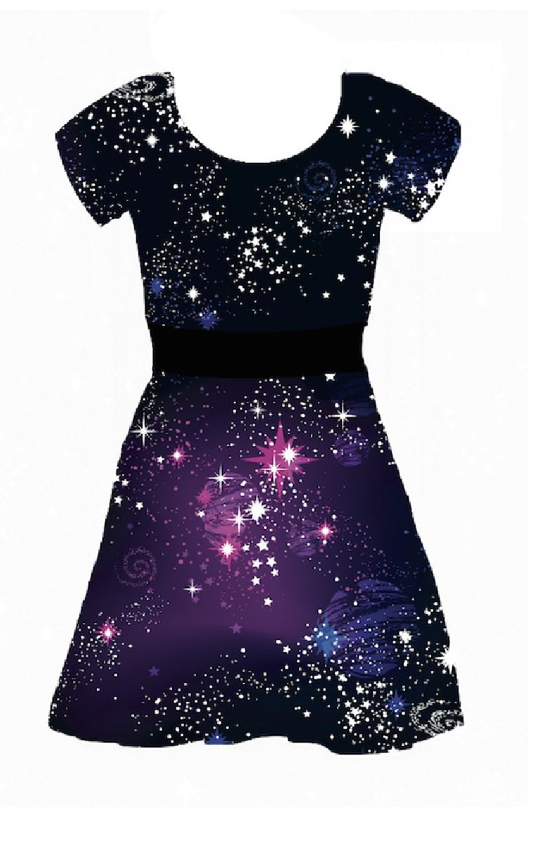 Cosmic Capped Sleeve Skater Dress