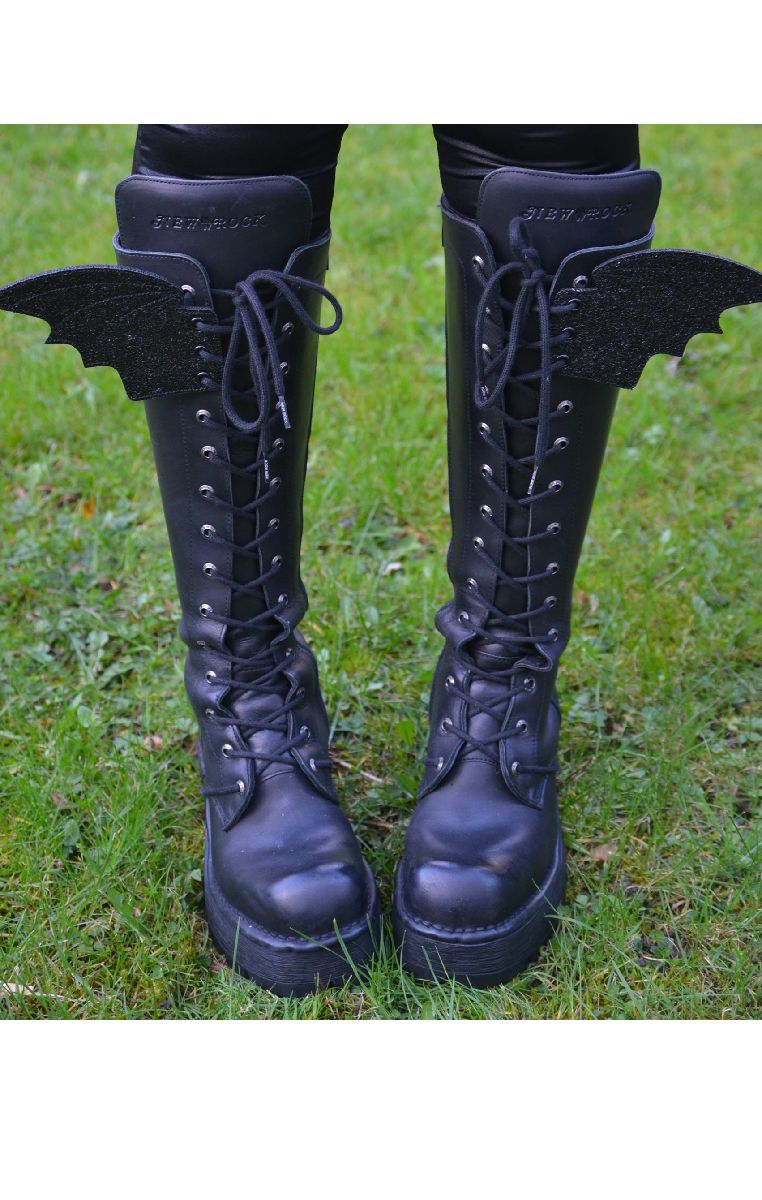 Bat Wings For Shoes - Black Glitter