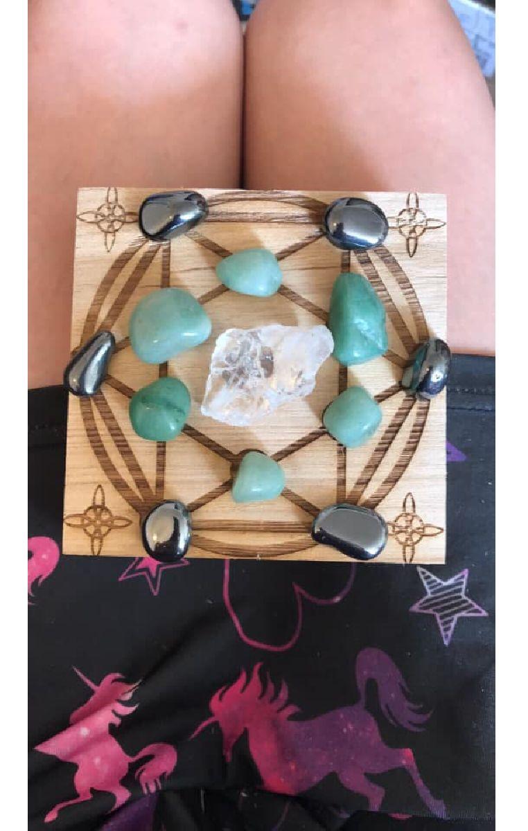 Crystal Grid Healing Box And Crystals