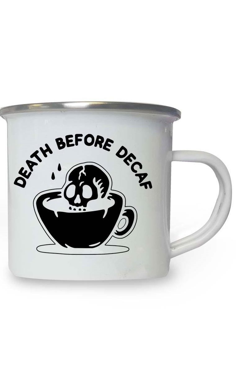 Death Before Decaf Enamel Mug