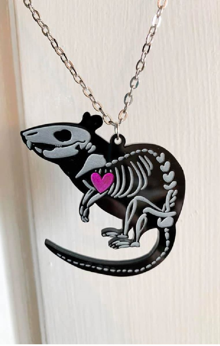 Rat Skeleton Necklace Black