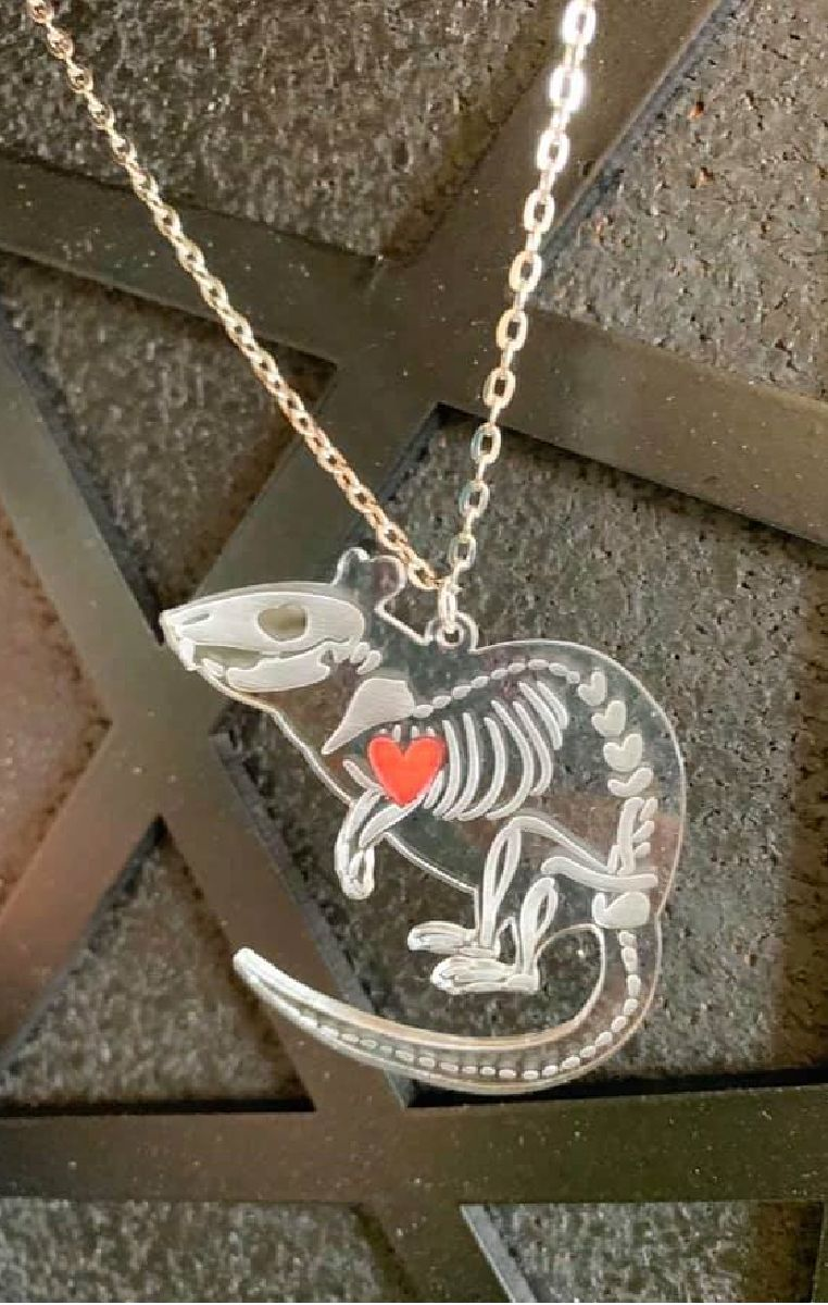 Rat Skeleton Necklace Clear