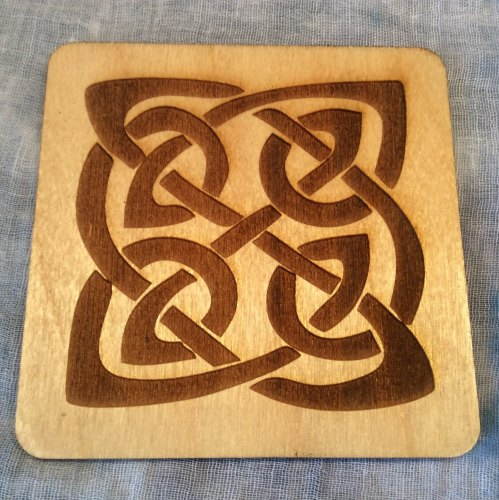 Celtic Knot Drinks Coaster Wooden Scottish Handmade
