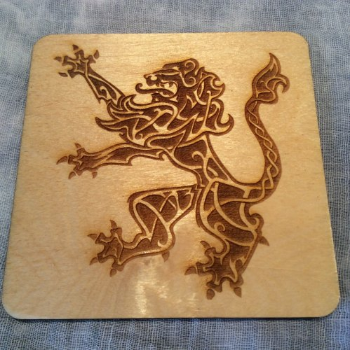 Celtic Lion Rampant Drinks Coaster Wooden Scottish