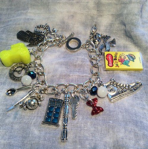 Dr Who Charm Bracelet Tardis Sonic Screwdriver Weeping Angel