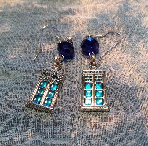 Dr Who Earrings Tardis Blue Police Box Charms Sterling