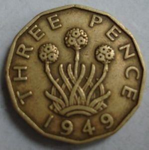 Threepence Cufflinks 1949 Coins