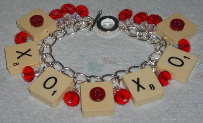 Scrabble Charm Bracelet Letters Crystals Name Personalisation Gift
