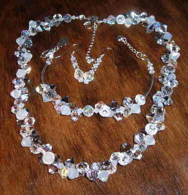 Swarovski 6mm top-drilled bicone large cluster necklace and earrings