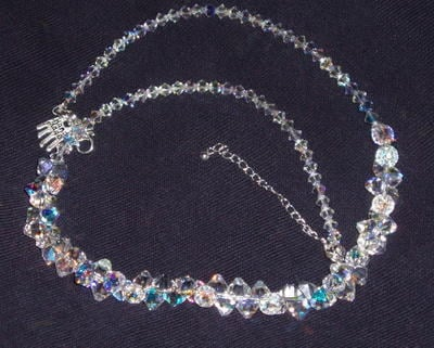 Swarovski Crystal 6mm top drilled bicone cluster necklace