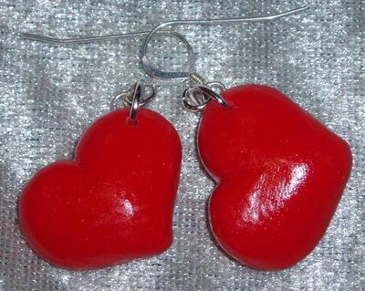 Red Heart Earrings Fimo Sterling