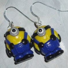 Minion Earrings Handmade Blue Yellow Fimo Sterling