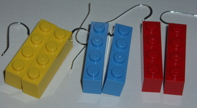 Lego Earrings 4x1 Pair Drop Sterling Brick Geek Retro Swarovski