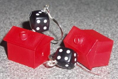 Monopoly Hotel Black Dice Earrings Sterling Rockabilly