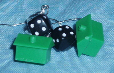 Monopoly House Black Dice Earrings Sterling