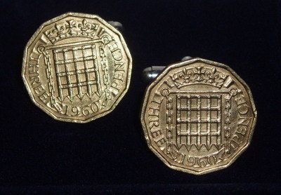 Threepence Cufflinks Thropence Thrup'enny Thrupenny Coins