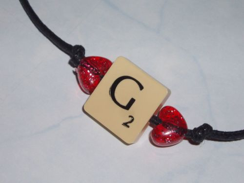 Scrabble Bracelet Cord Vintage Two Letters Initial Swarovski Heart