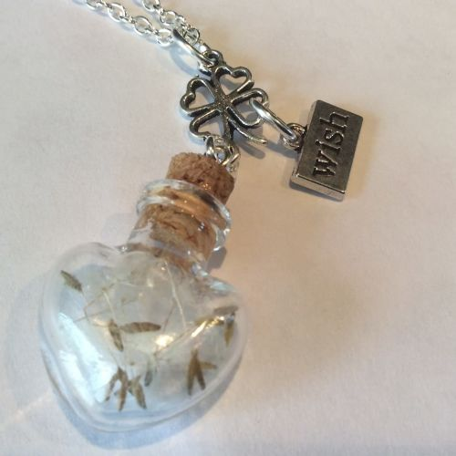 Wish Bottle Charm Pendant Dandelion Lucky Clover