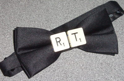Scrabble Bow Tie Letters Initials Black Silk Smart Player Handmade