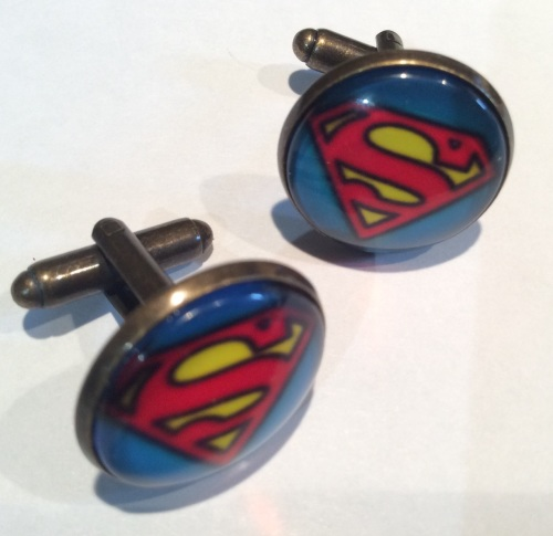Superman Cufflinks Glass Cabochon Antique Brass Handmade