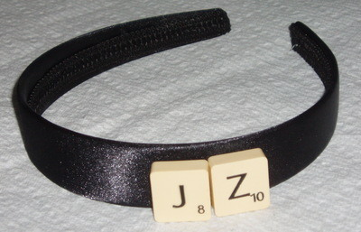 Scrabble Hair Band Personalised Letters Black Satin