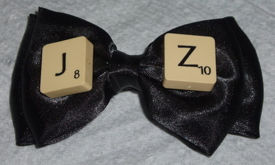 Scrabble Barrette Hair Bow Personalised Letter Initials Black