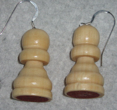 Pawn Earrings Pale Chess Piece Sterling Scotland Gift