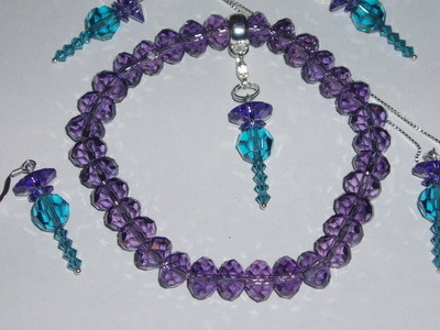 Thistle Charm Bracelet Swarovski Crystal Faceted Rondelle Stretch