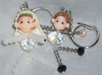 Bride and Groom Keyring pair