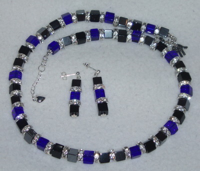 Hematite Crystal And Glass Cube Necklace And Earrings