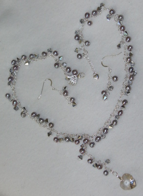 Crystal And Freshwater Pearl Y-shape Necklace Earrings Heart