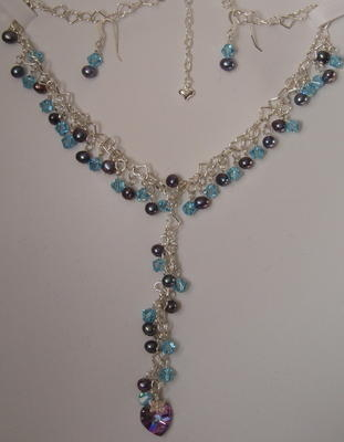 Crystal And Freshwater Pearl Y-shape Necklace And Earrings
