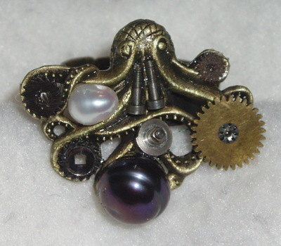 Steampunk Octopus Ring Brass Antique Watch Pearls Unique