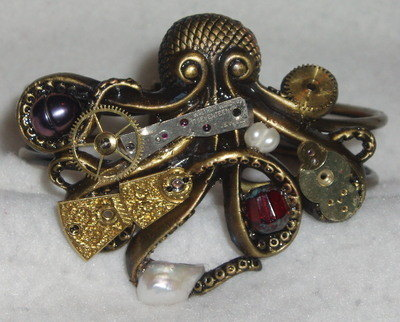 Steampunk Octopus Cuff Bracelet Brass Antique Watch Pearls Vintage